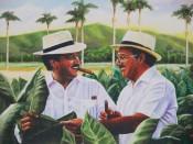 Retrato de Carlos Fuente, padre e hijo, en su tabacal.