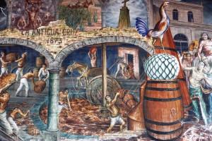 Mural del proceso del agave en Hacienda Sauza